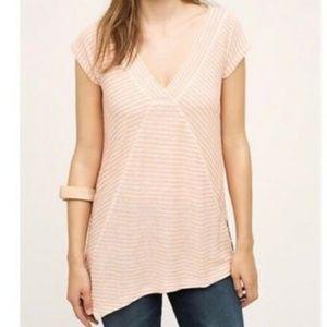 Meadow Rue Orange Tan Striped Spliced Linen Top